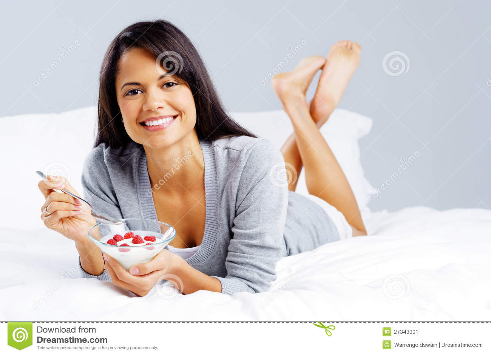 Gezonde yoghurtvrouw