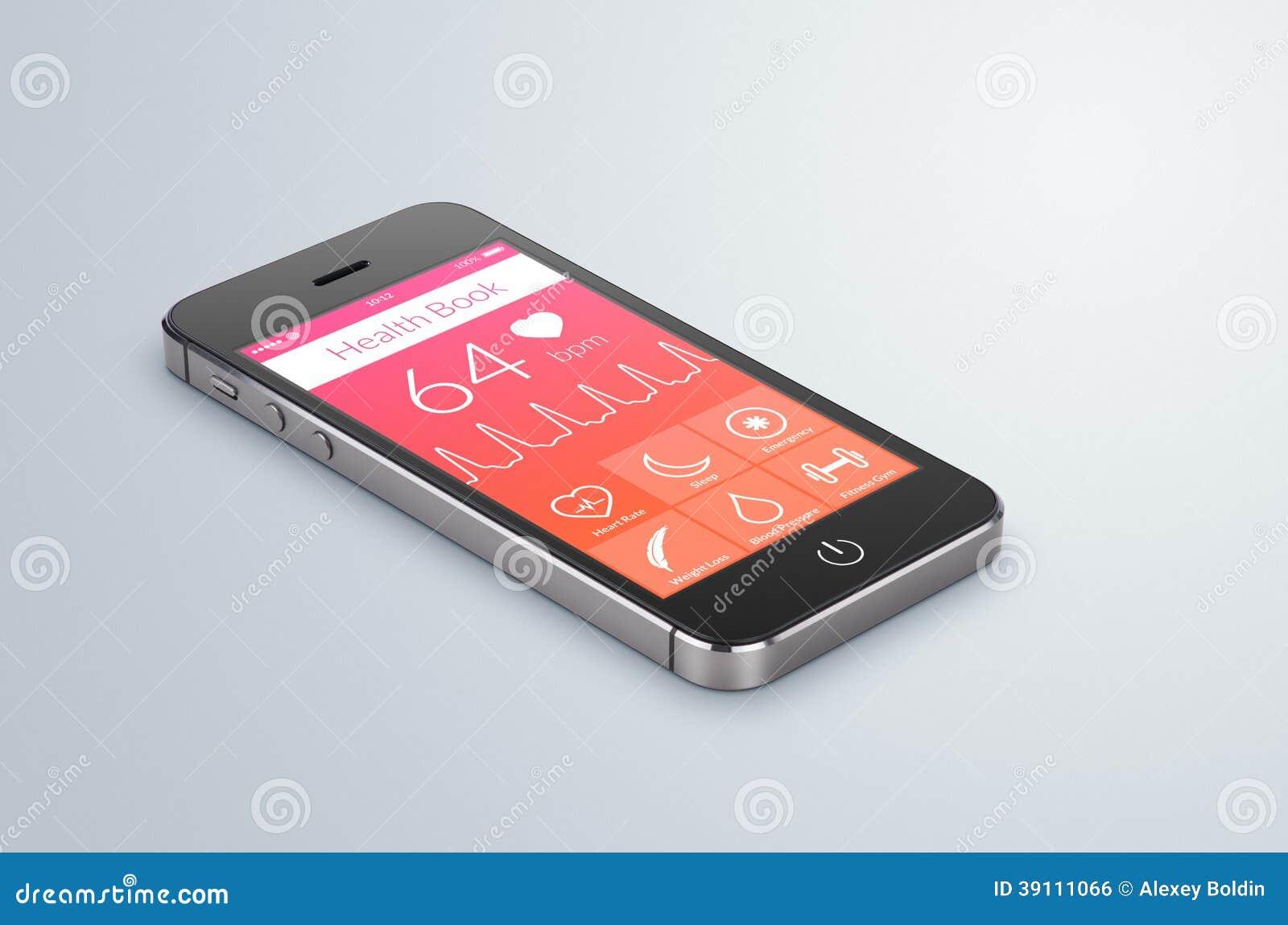 Gezondheidsboek app op het moderne smartphonescherm