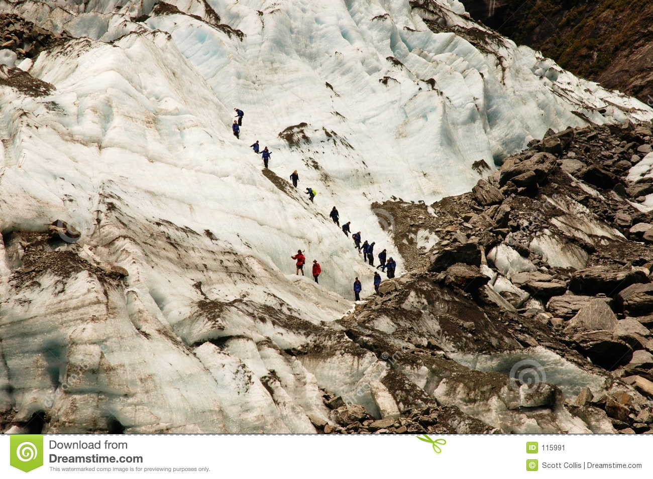 A Gguided group on a glacier