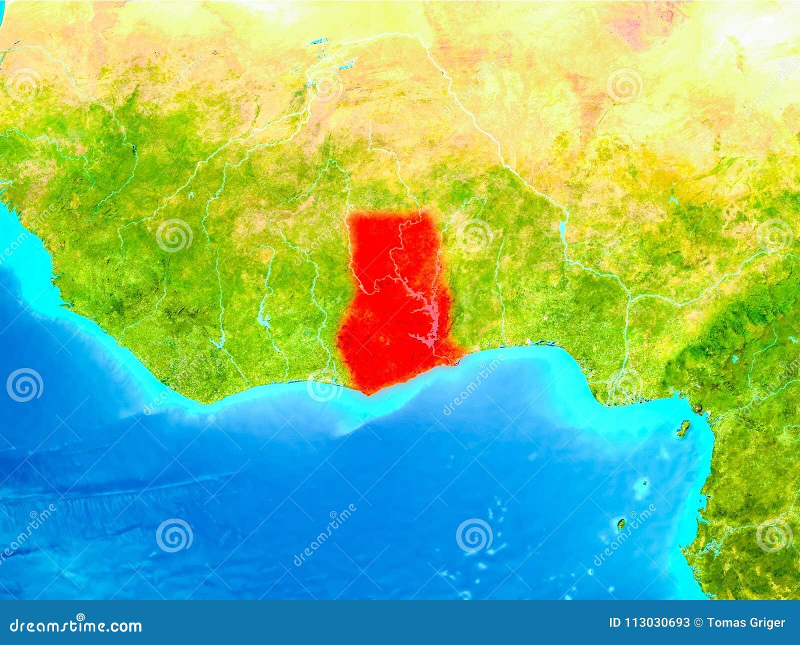 Ghana en rojo en la tierra