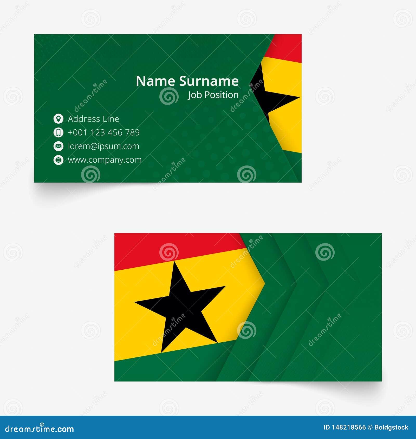 Ghana Flag Business Card, Standard Size 90x50 Mm Business ...