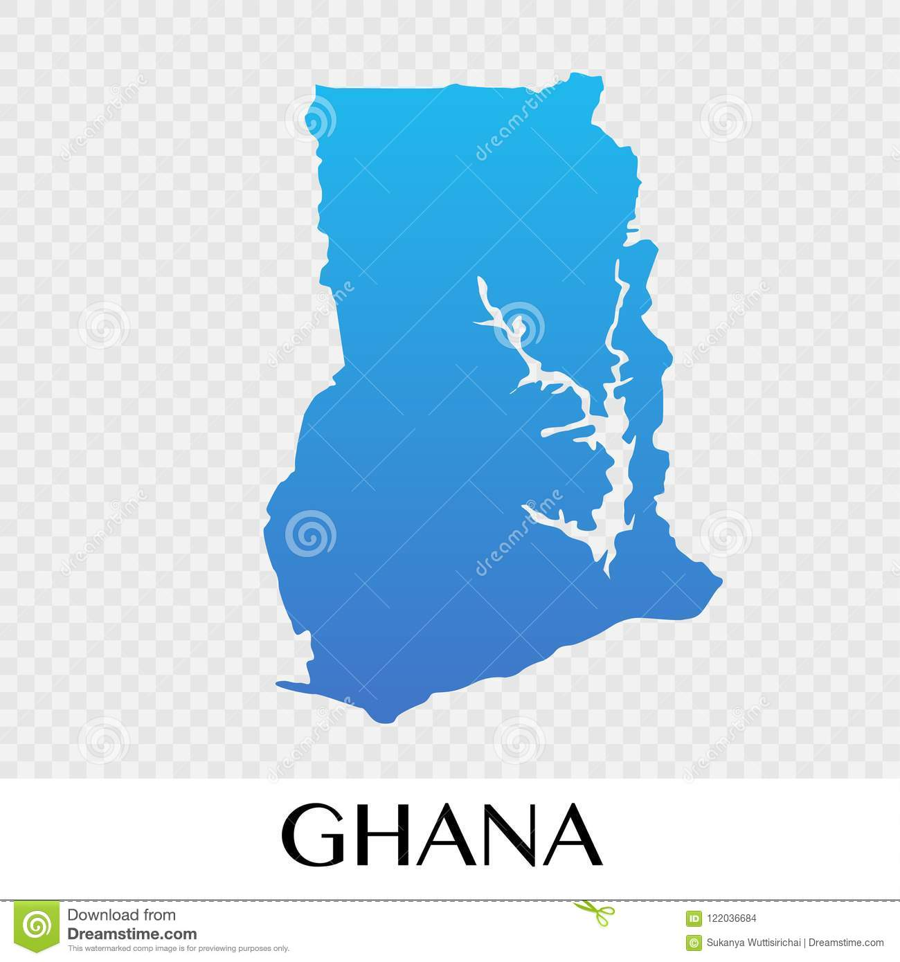 Map Of Africa Showing Ghana.Ghana Map In Africa Continent Illustration Design Stock Vector