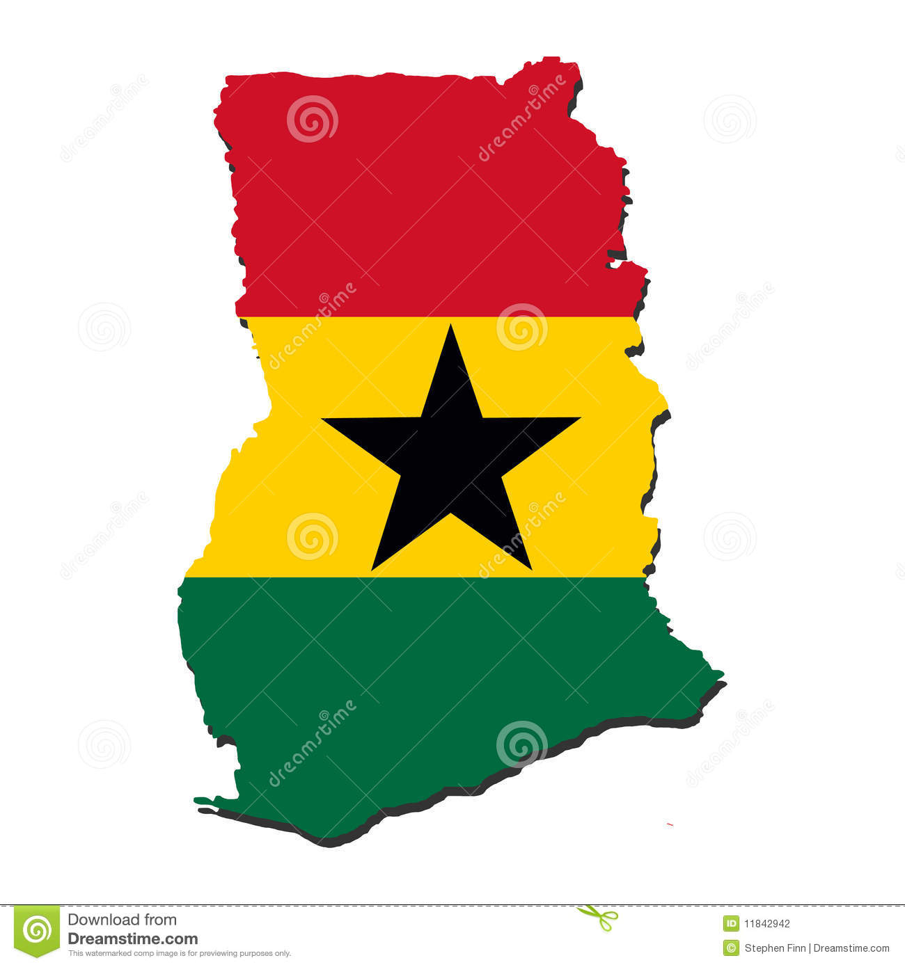 Ghana map flag stock vector. Illustration of illustration - 11842942