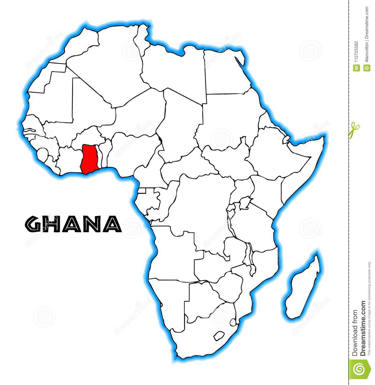 Ghana Africa Map Ghana Africa Map stock vector. Illustration of illustration