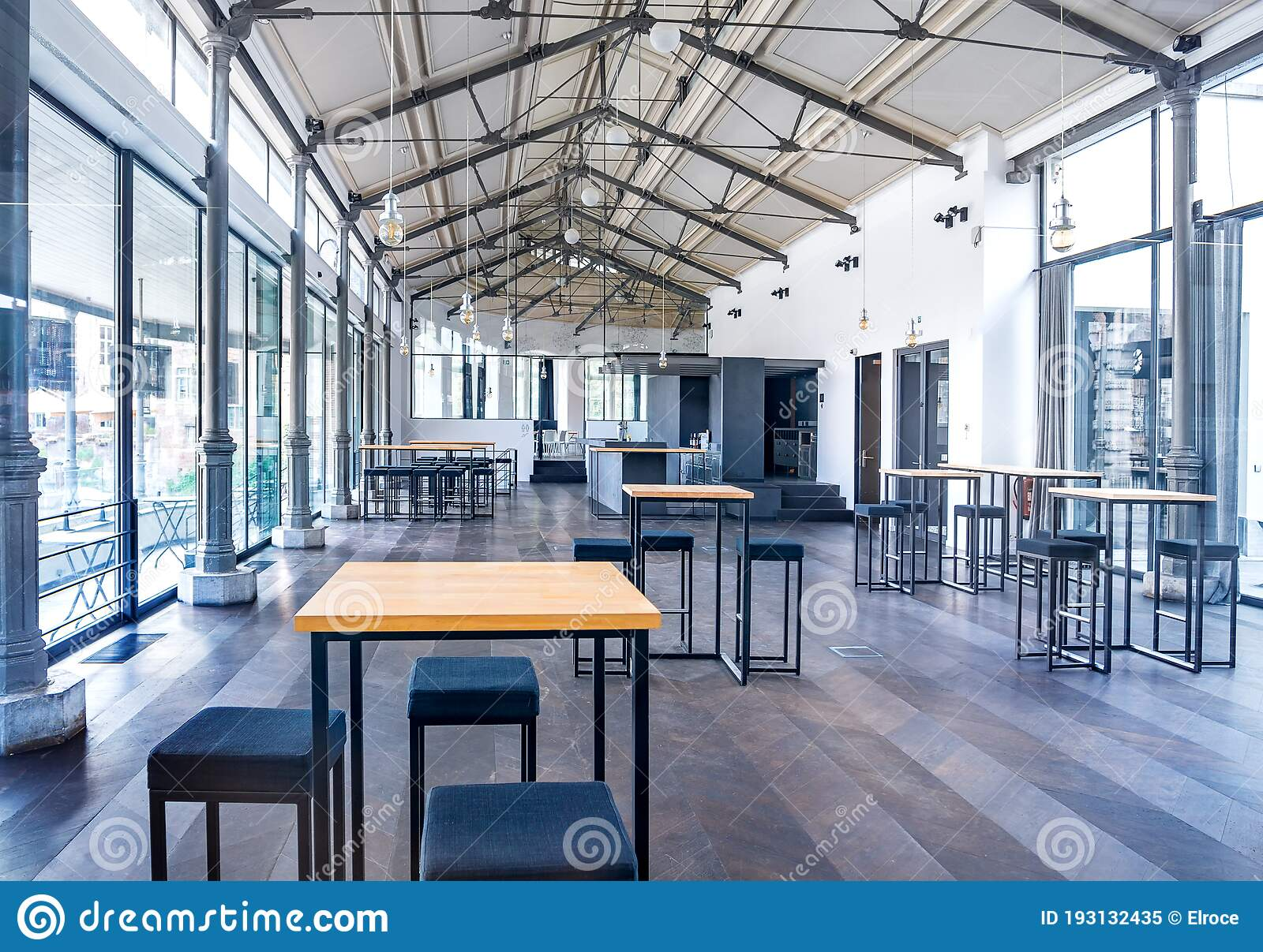 Modern Bright Beauty Minimal Empty Restaurant Food Coffee Bar Interior Business With Black And Editorial Image Image Of Business Clean 193132435