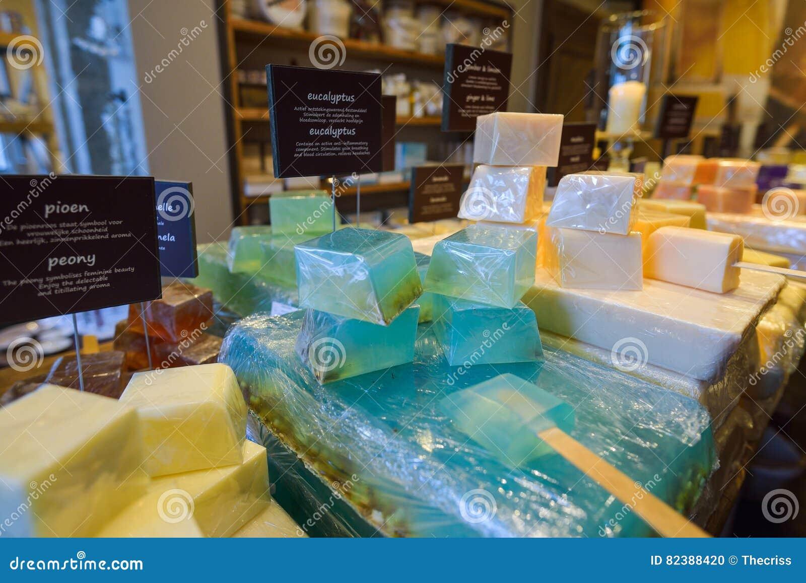 GHENT, BELGIUM - DECEMBER 05 2016 - Handmade Soap Displayed