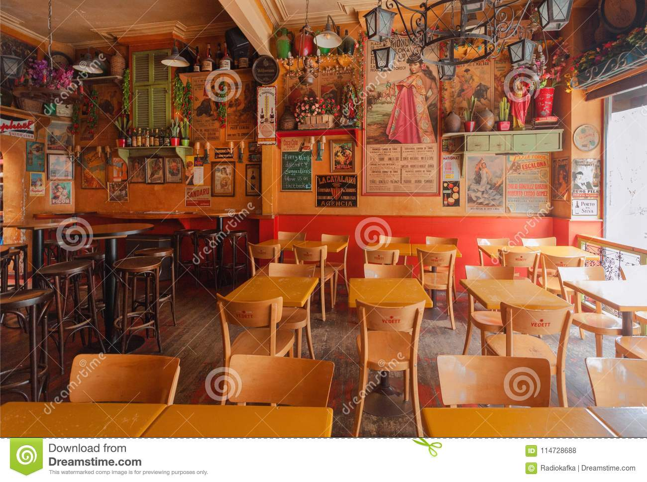 Empty Restaurant In Mexican Style With Tables And Antique Decoration