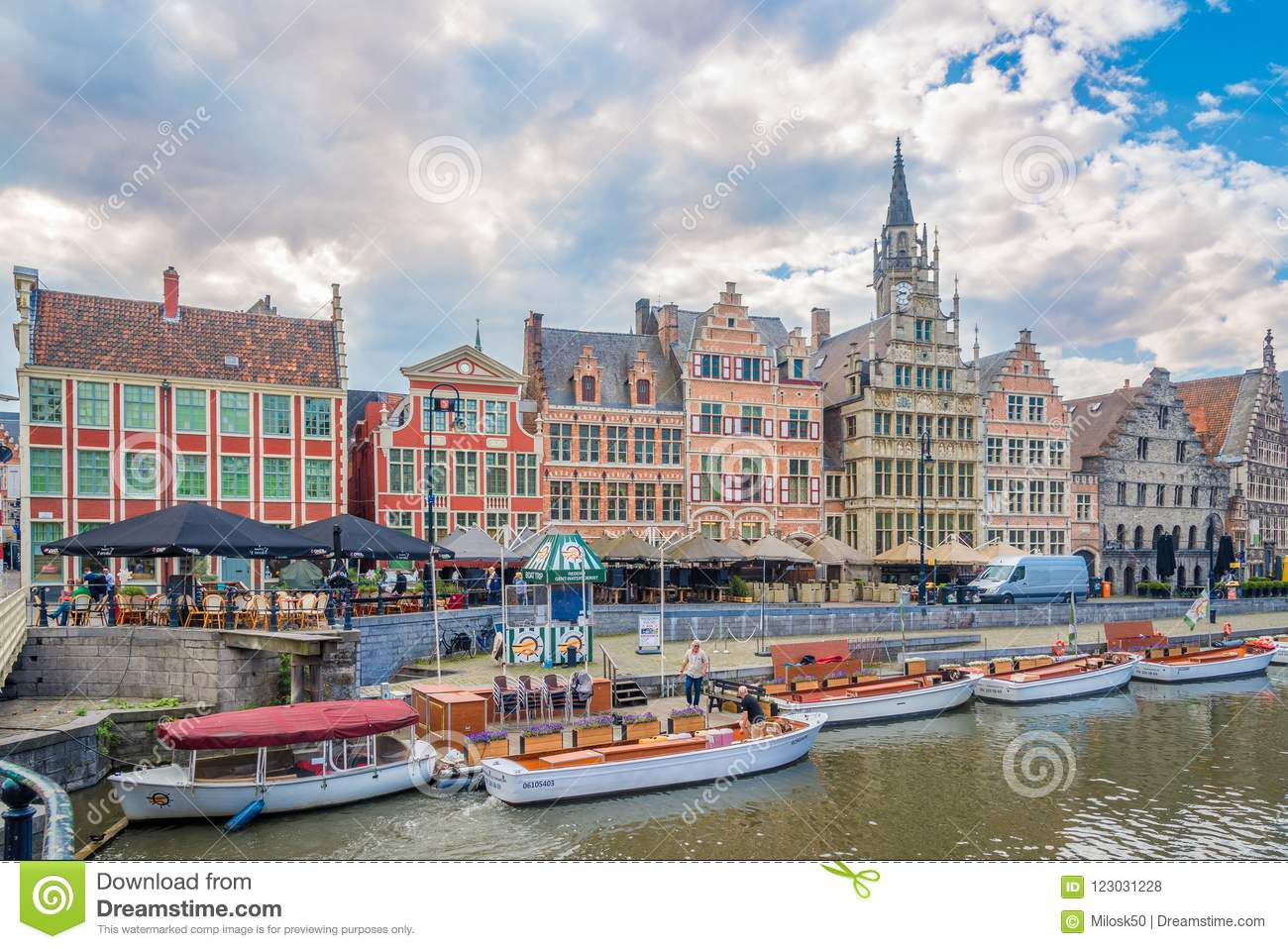 View Of The Graslei With Leie River In Ghent
