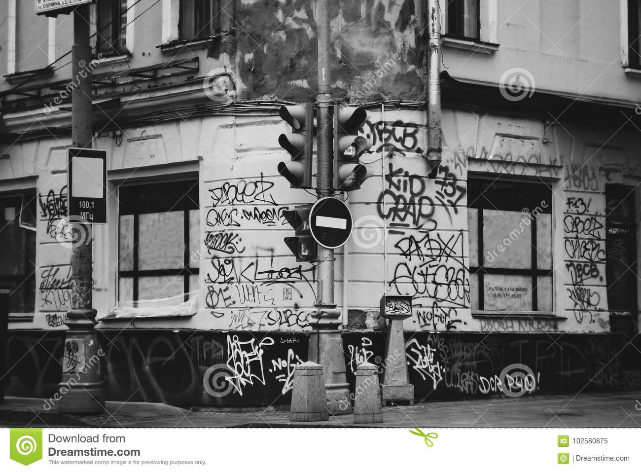 Download Ghetto Street Of The City Painted Graffiti. Dirty Walls In The Inscription Traffic Light Stop Sign Artistic Or Social Photography. Editorial Image - Image of social, wallpapers: 102580875