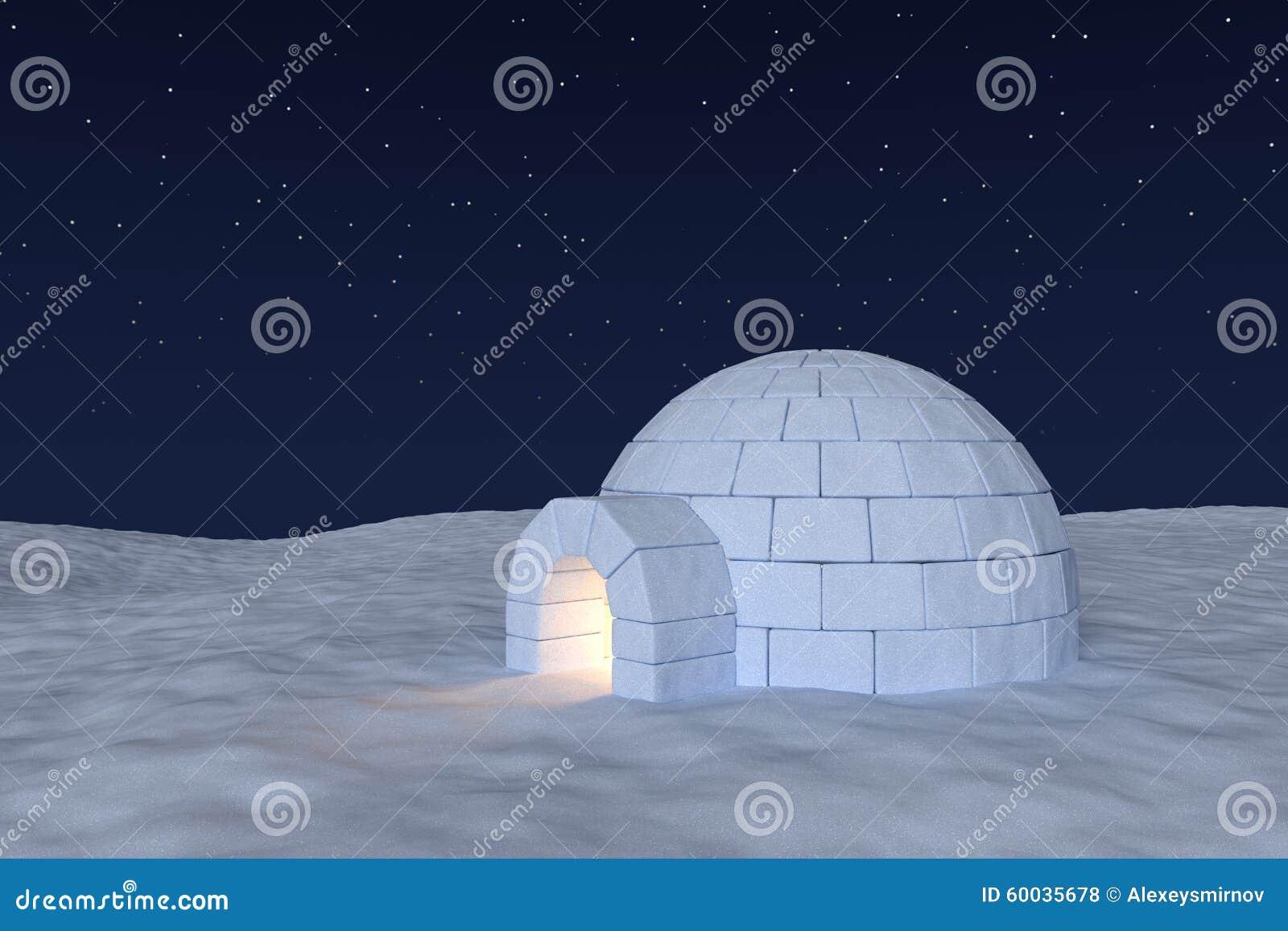 Ghiacciaia dell iglù con luce calda dentro sotto cielo notturno con le stelle
