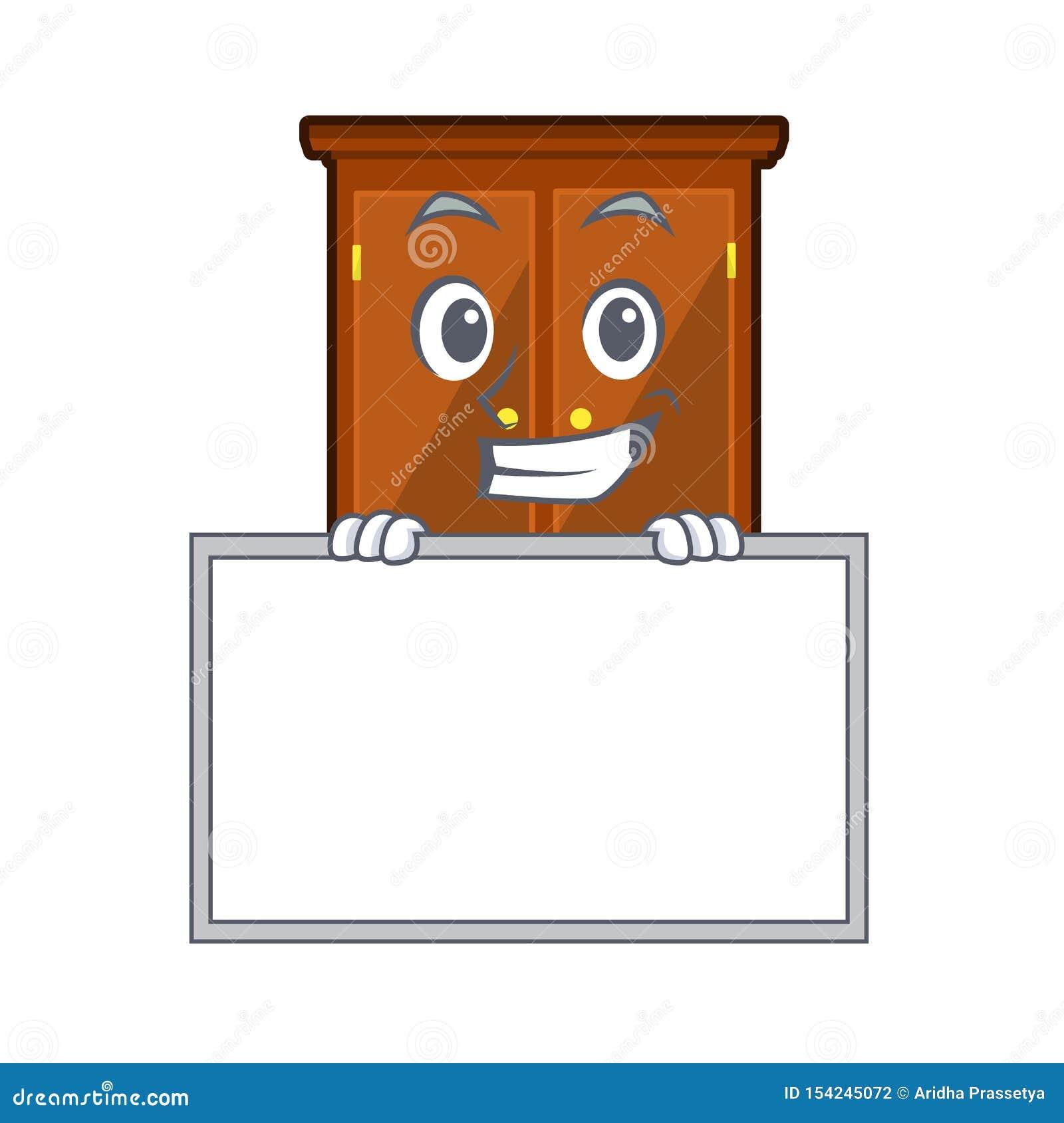 Ghignando con il guardaroba del bordo nella camera da letto della mascotte di a