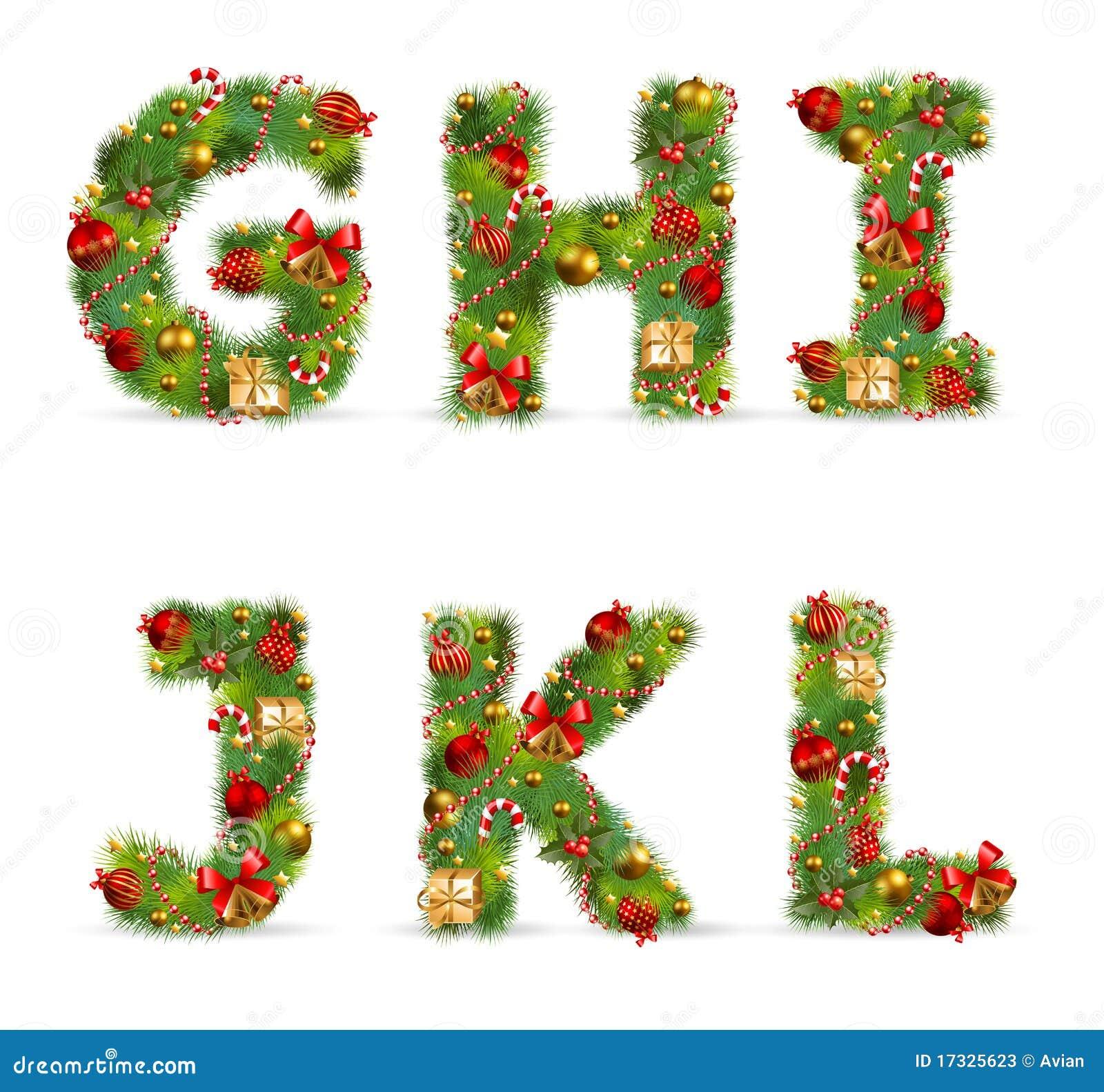 GHIJKL, Christmas Tree Font Stock Photos - Image: 17325623