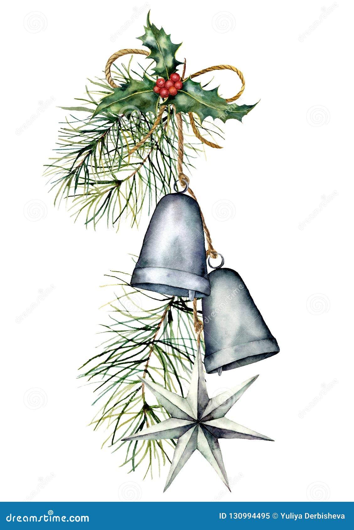 Ghirlanda d argento delle campane di Natale dell acquerello con la decorazione di festa Campane tradizionali dipinte a mano con a