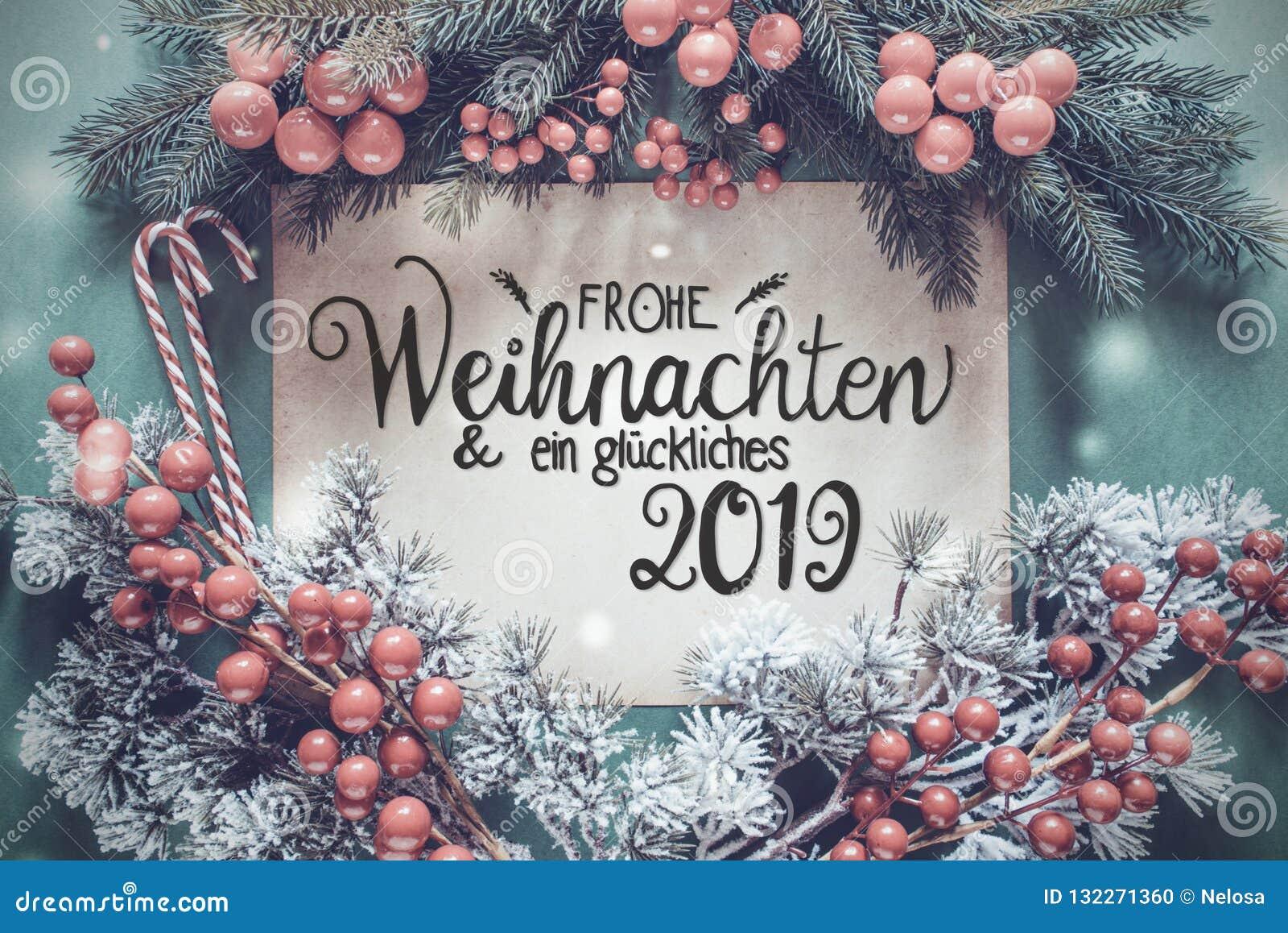 Ghirlanda di Chrismtas, calligrafia tedesca Glueckliches 2019 mezzi 2019 felice