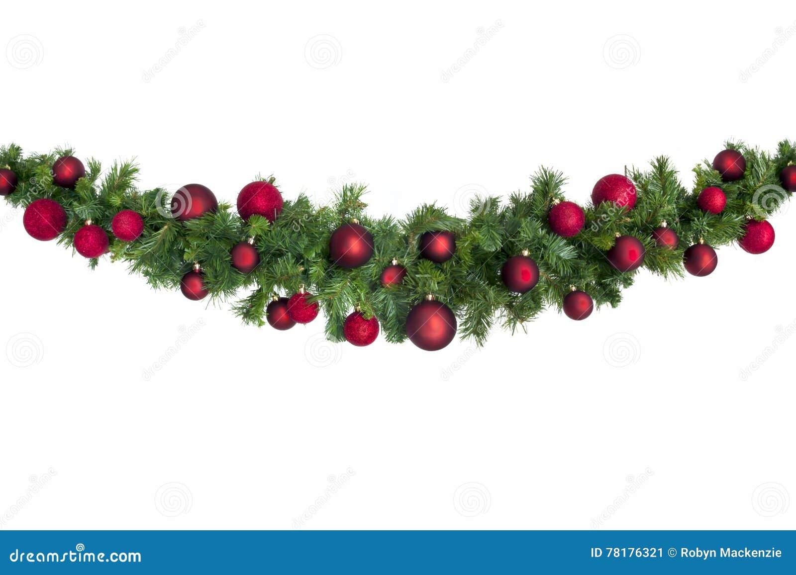 Ghirlanda di Natale con le bagattelle rosse