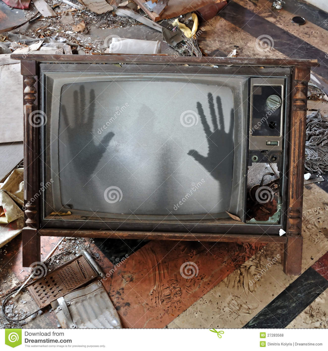 ghost appears flickering tv set 27283568