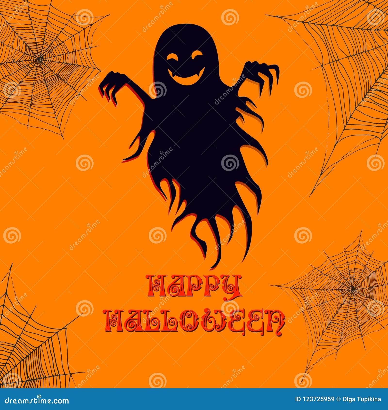 fa4795ea68d Ghost And Cobweb, Happy Halloween Background. Vector Cartoon Ill ...