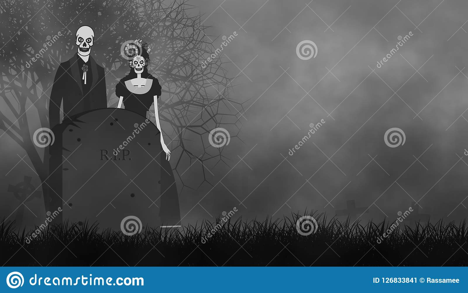 Ghost Couple In Day Of The Death Or Halloween Theme Stock