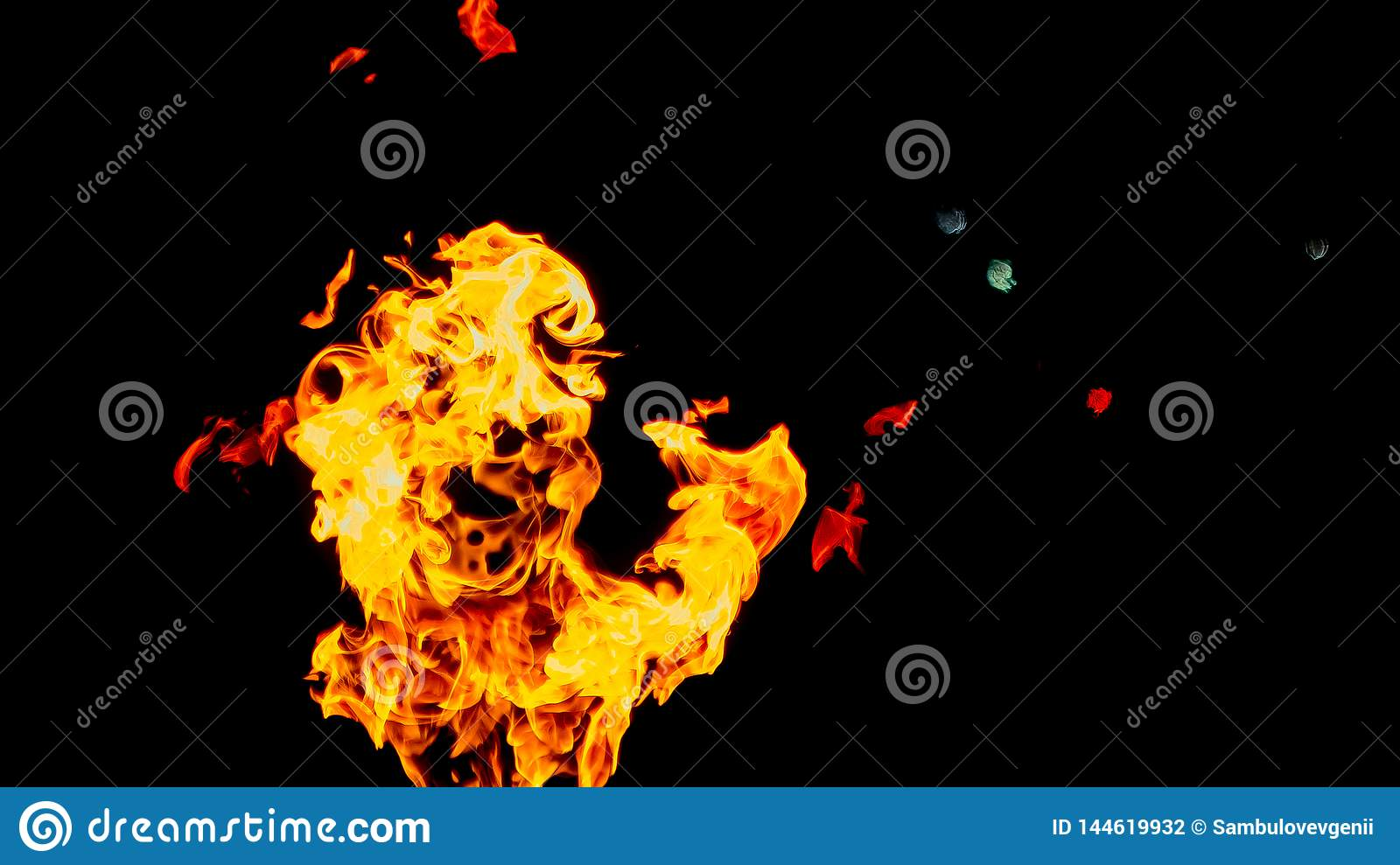 Ghost in the form of fire. Fire flames on black background. fire on black background isolated. fire patterns