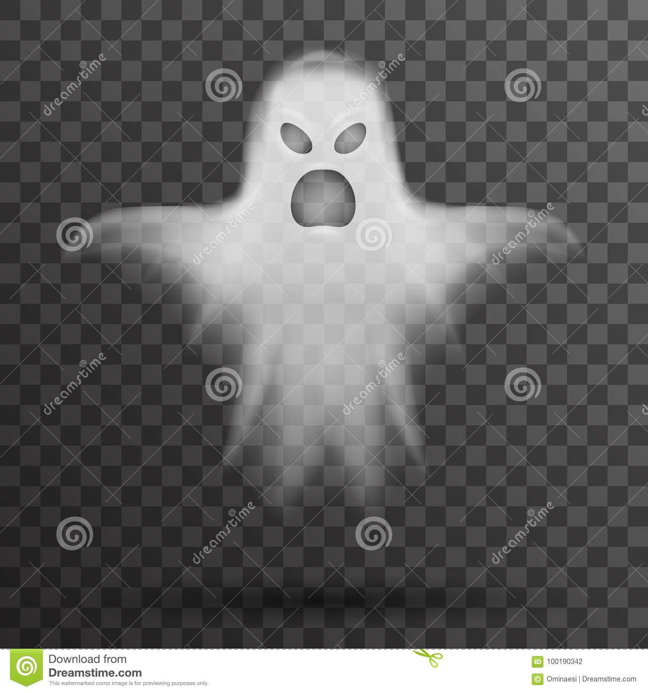 Ghost Halloween White Scary Isolated Template Transparent Night ...
