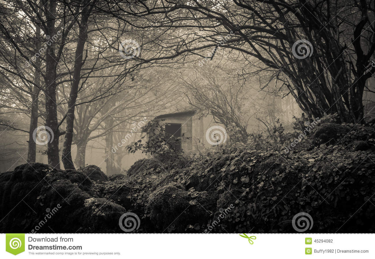 Ghost house in the fog