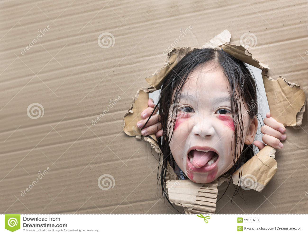 download ghost kid looking through hole on cardboard stock image image of face