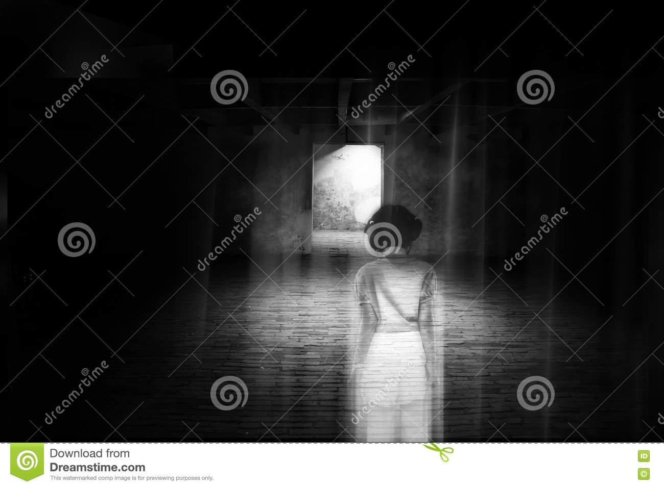 Ghost little girl appears in old dark room, ghost in haunted house, child is confined to death.