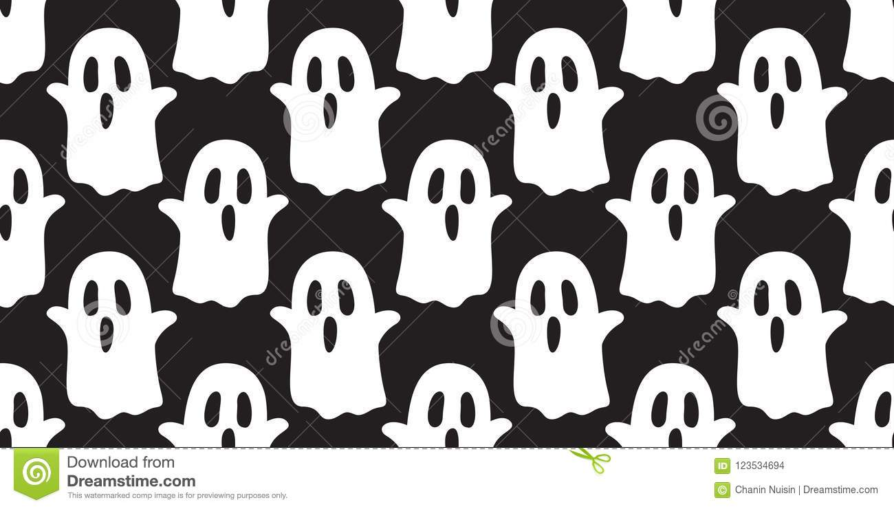 Ghost Seamless Pattern Halloween Spooky Cartoon Wallpaper