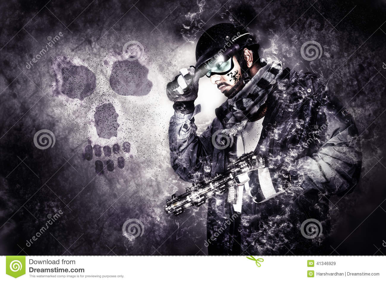 Ghost Warrior Soldier With Muffler And Gun Stock Photo - Image ...