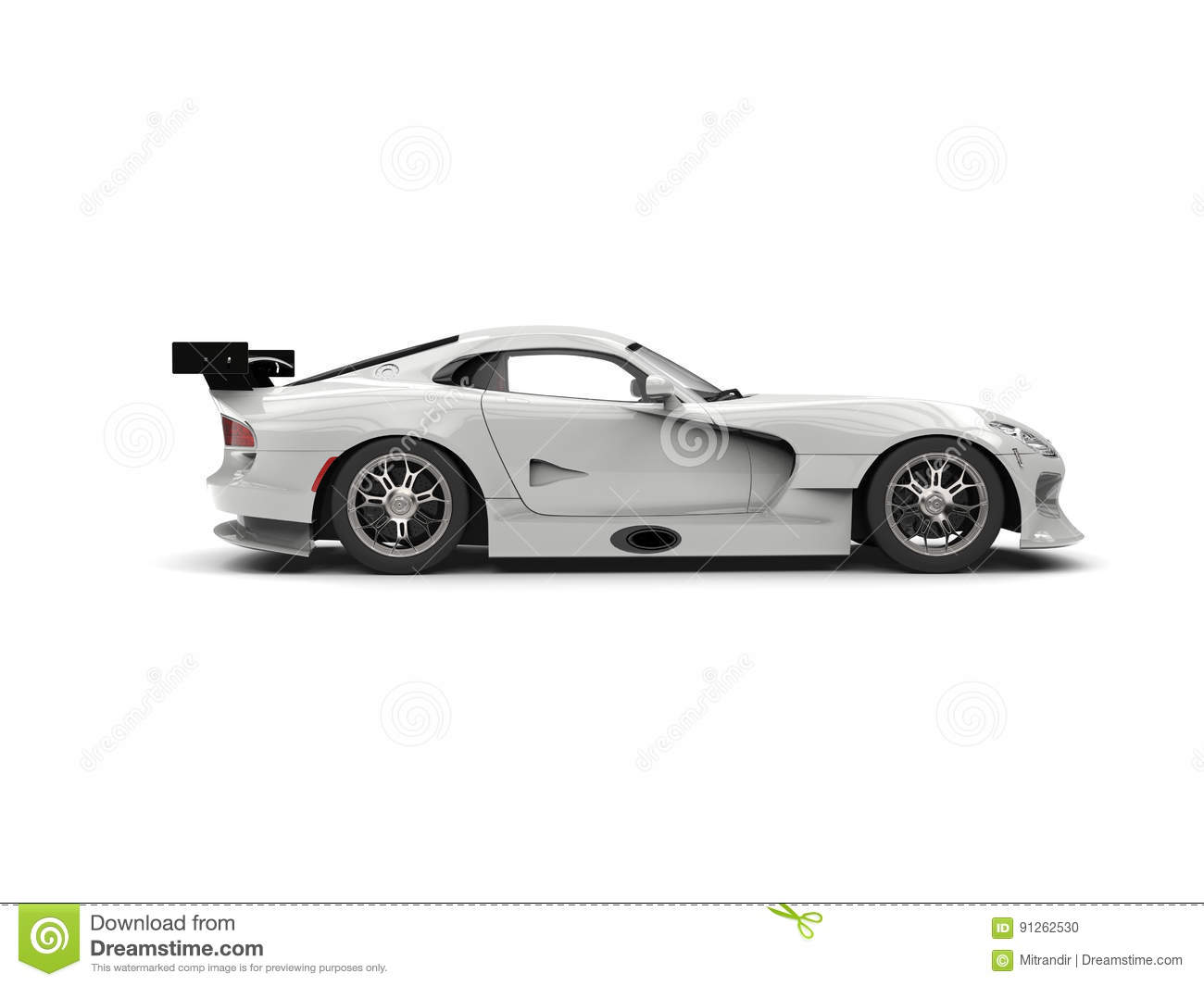 Ghost White Supercar Side View Stock Illustration Image