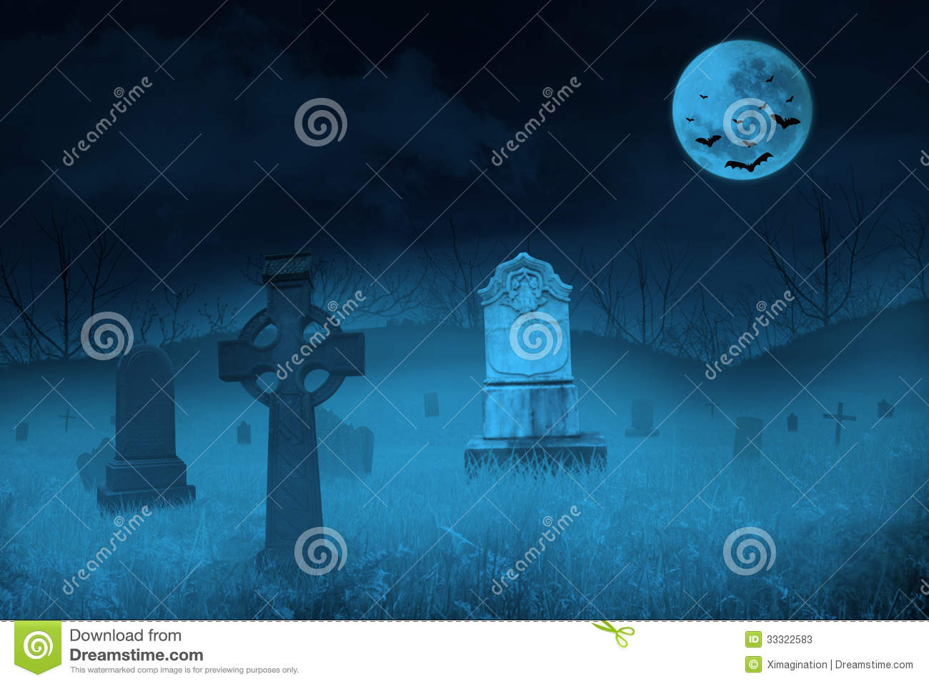 Ghostly graveyard by full moon