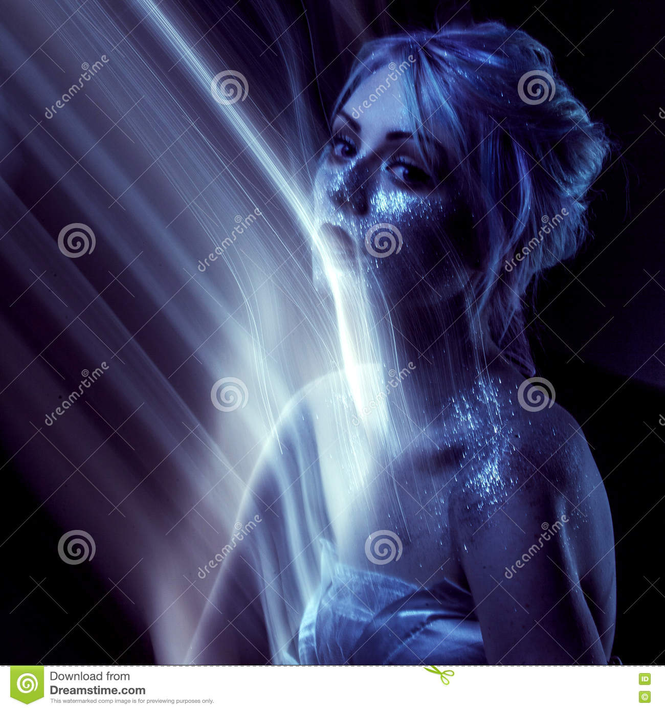 Ghostly Woman Soul Portrait Of A Movement Effect Creative Body Art On Theme Space And Stars Stock Photo Image Of Eyes Ethereal 75379296