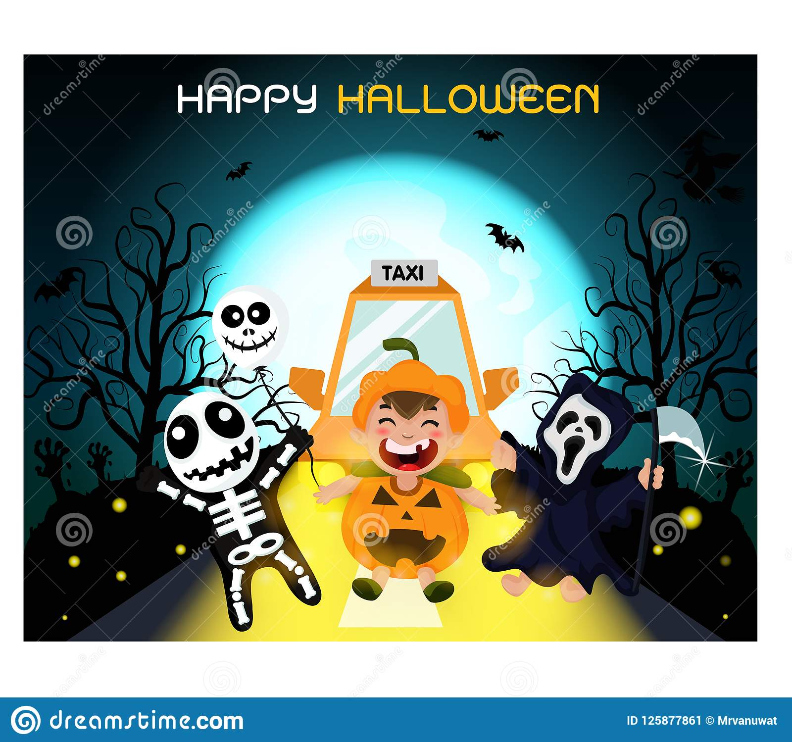 Ghosts gather at a party, perfect for decorating a website or a Halloween card.