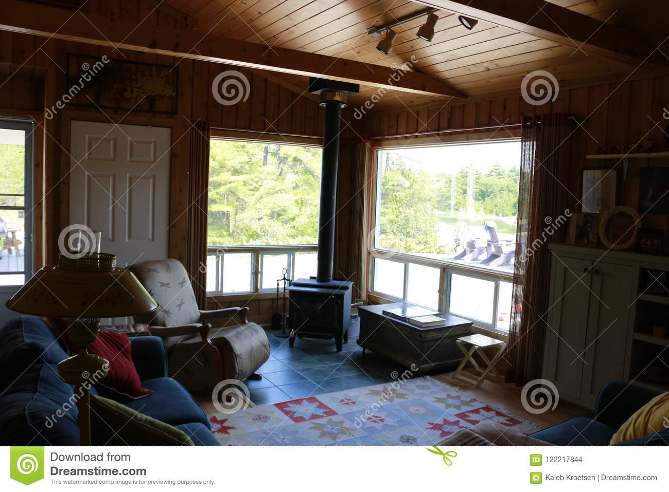 Lights Turn Off And Turn On In Living Room With The Stairs In The Cottage Stock Photo Image Of Design Entrance 122217844