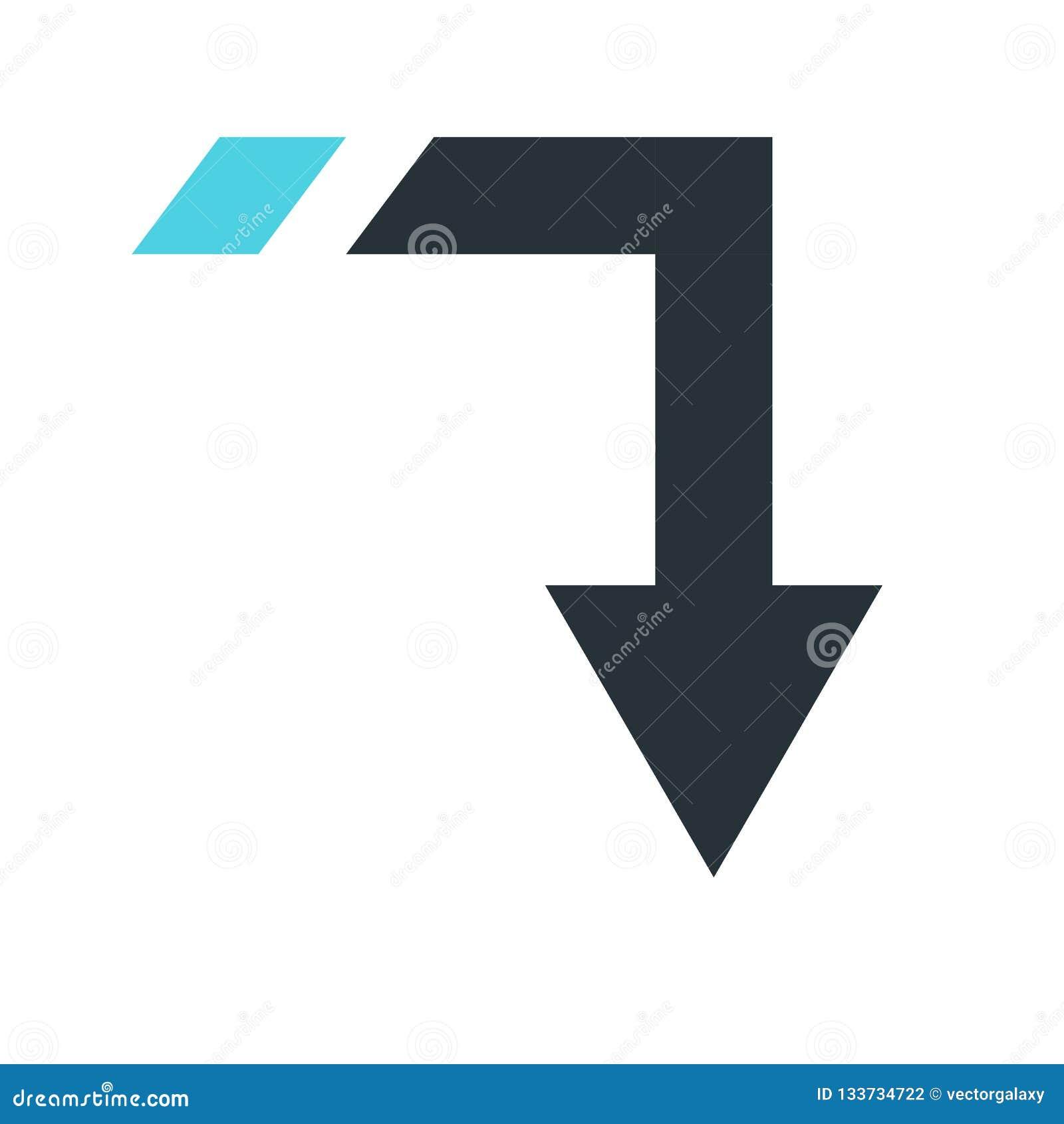 Giù segno e simbolo di vettore dell icona della freccia isolati sul backgro bianco