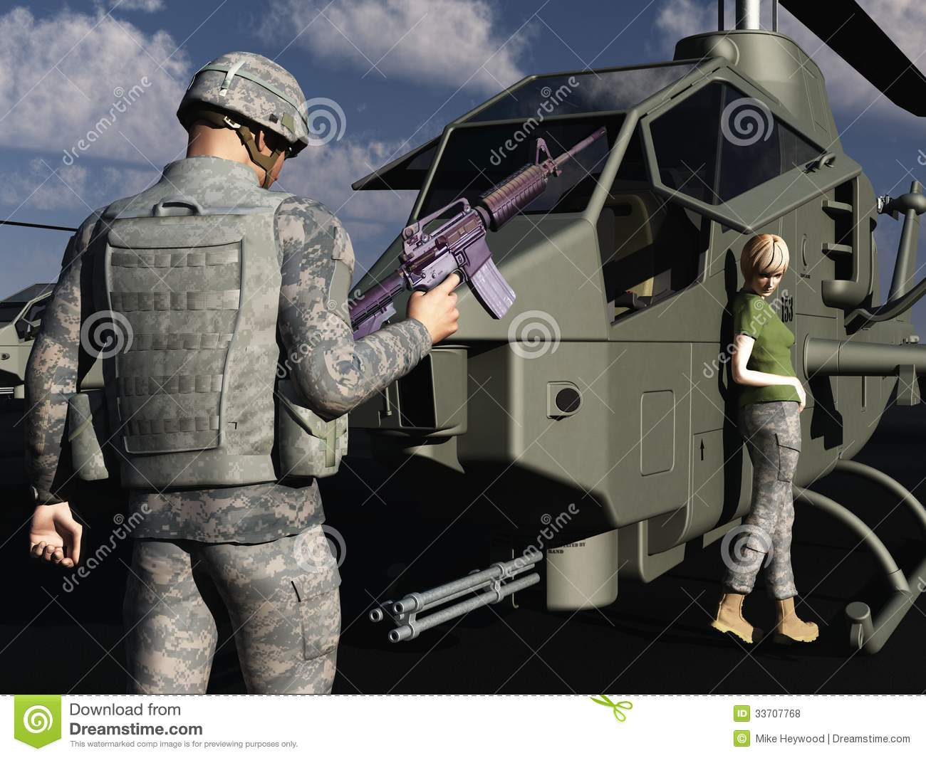 GI Flirting With Female Helicopter Mechanic Royalty Free Stock ...