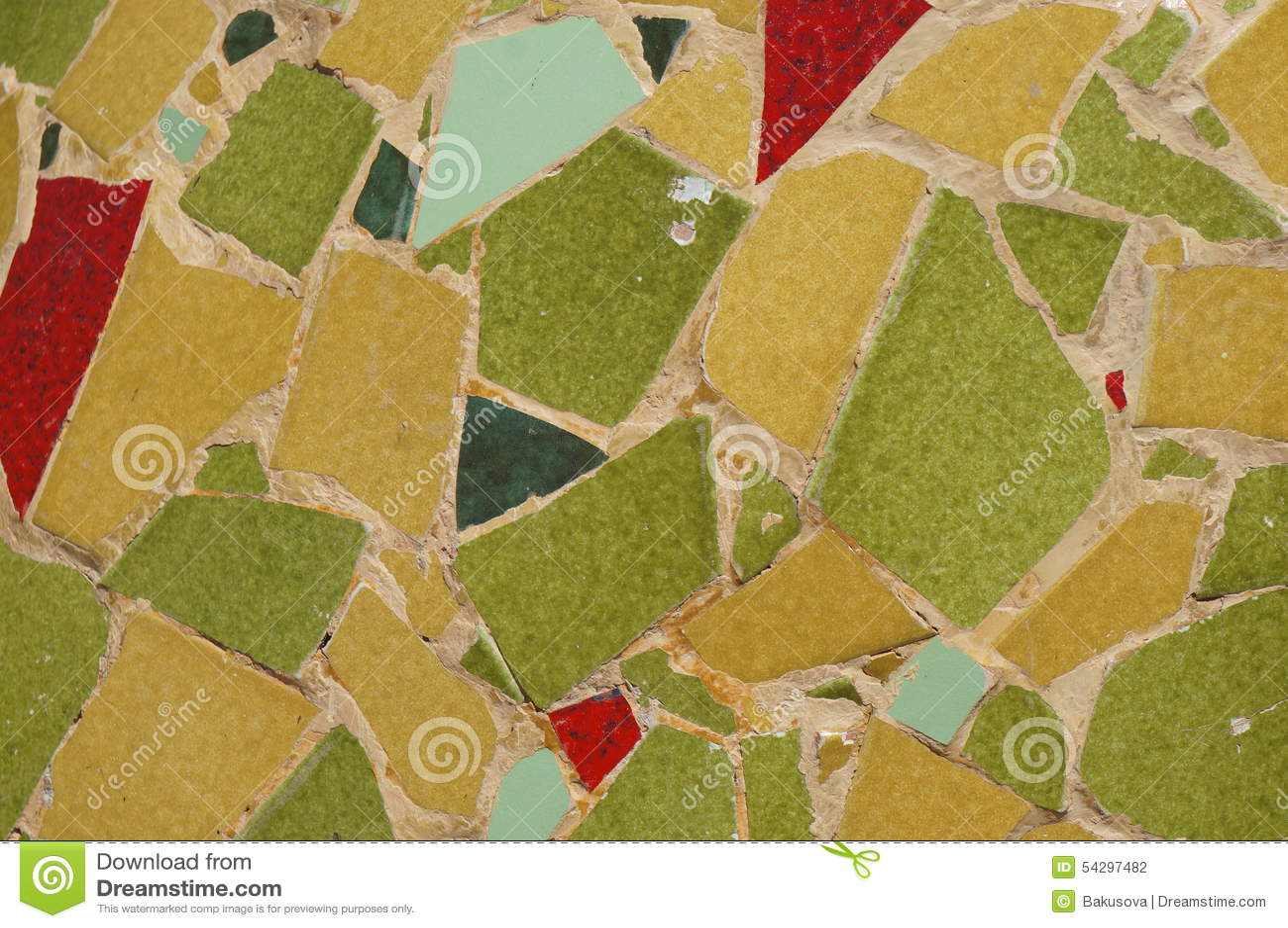 Giallo verde e rosso piastrella il mosaico fotografia stock