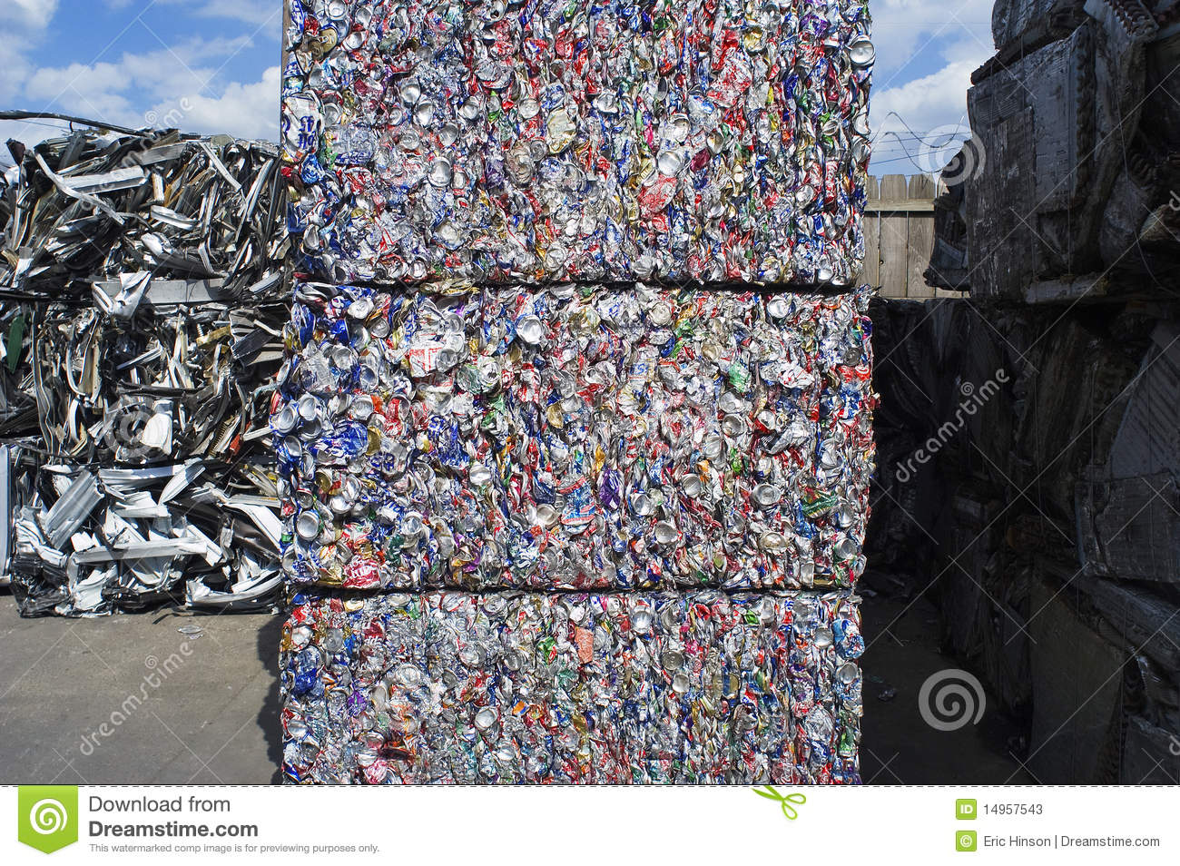 Giant Bales Of Crushed Aluminum Cans Stock Photos Image
