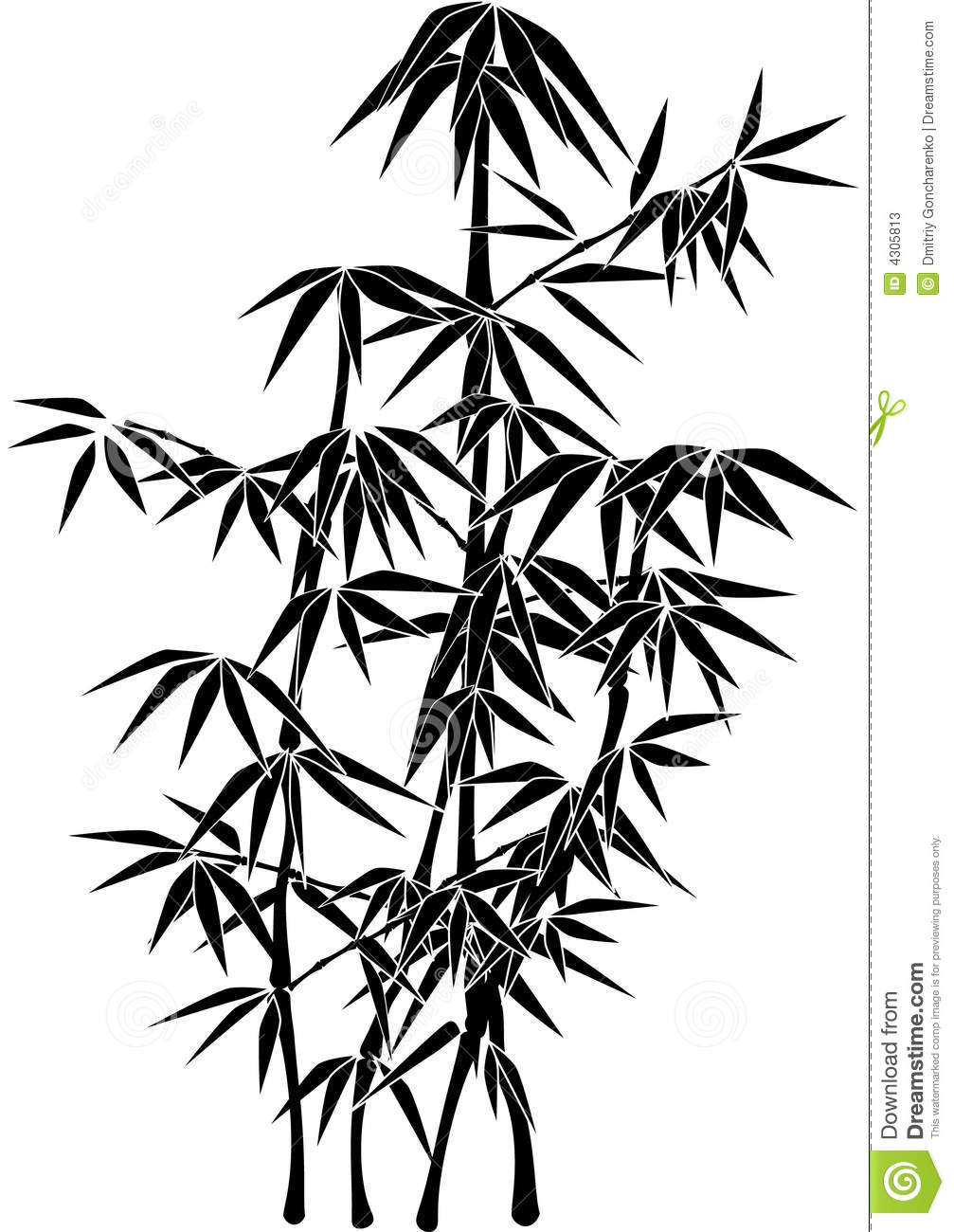 giant bamboo plant silhouette stock vector illustration