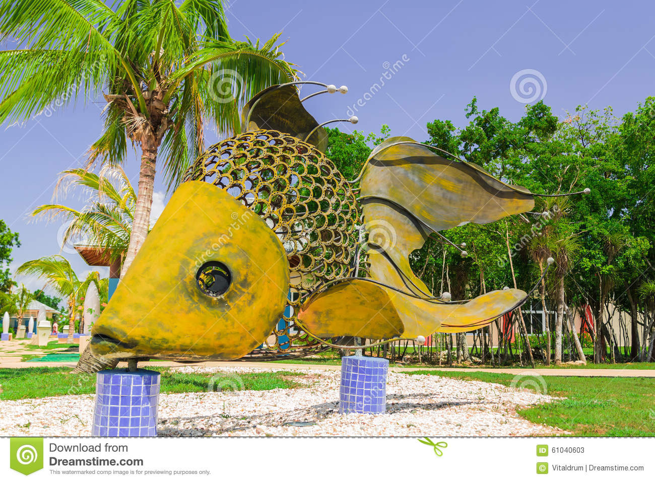 giant big, decorative beutiful fish made of metal and horshoe