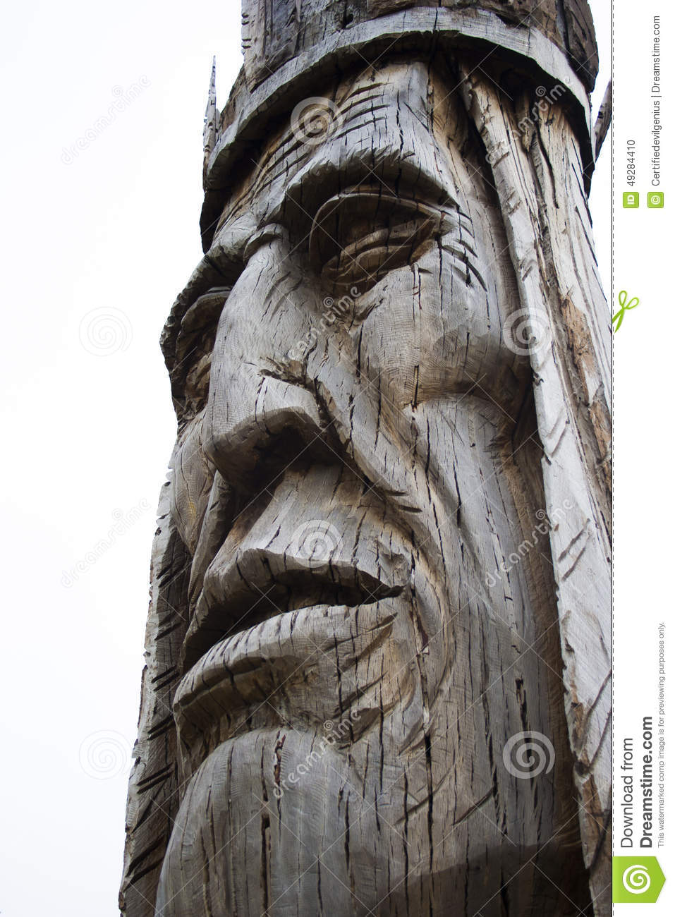 Giant carved wooden Native American head statue