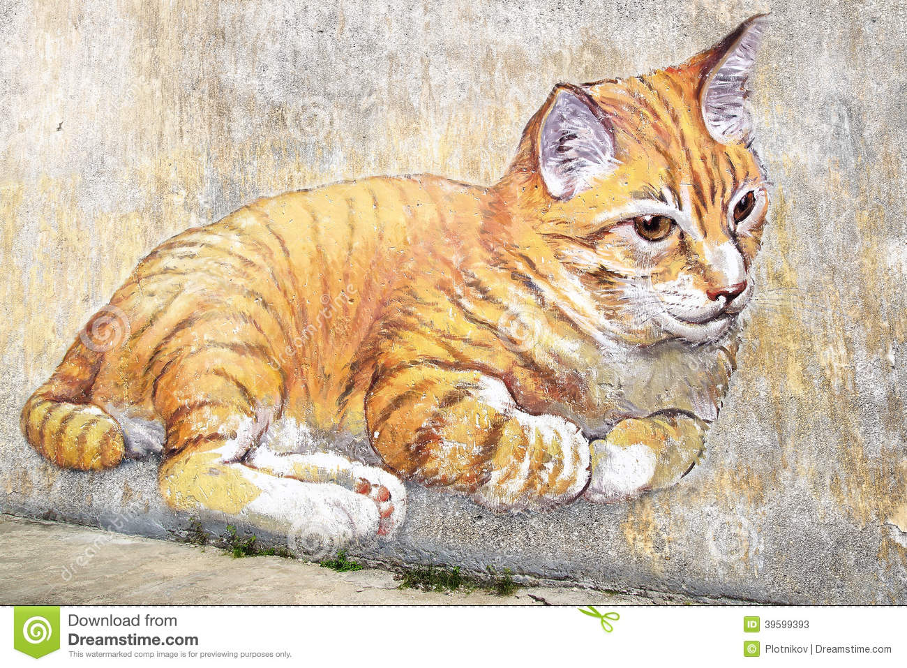 D Exhibition Penang : Giant cat mural. george town penang editorial stock photo image