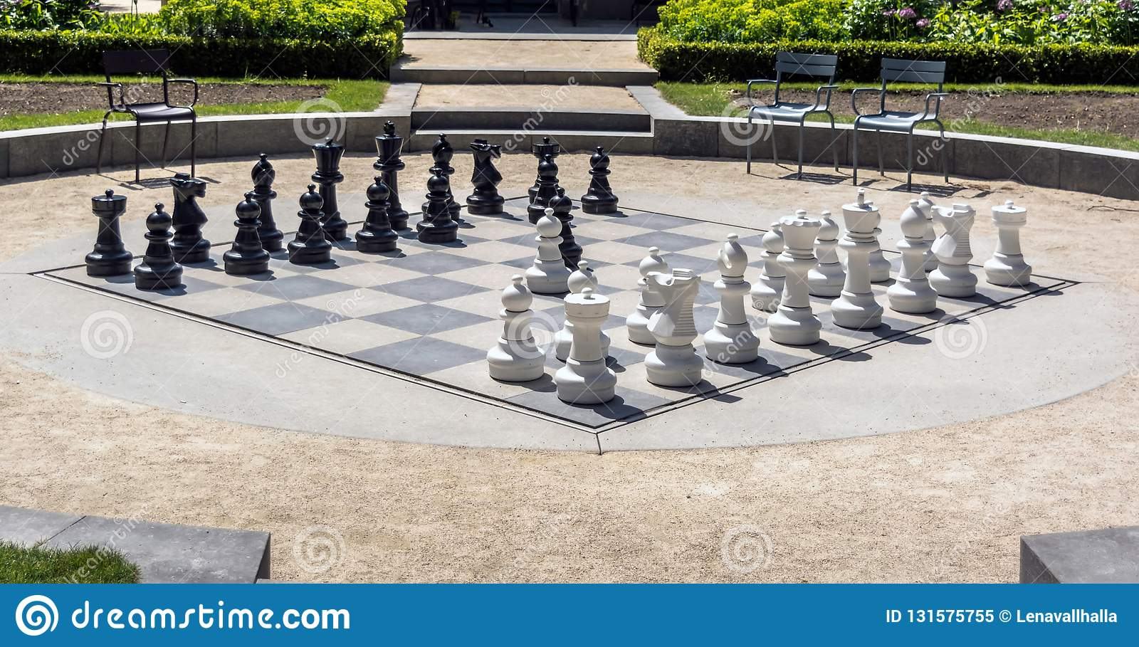 Giant chess board in the Rijksmuseum National Museum gardens