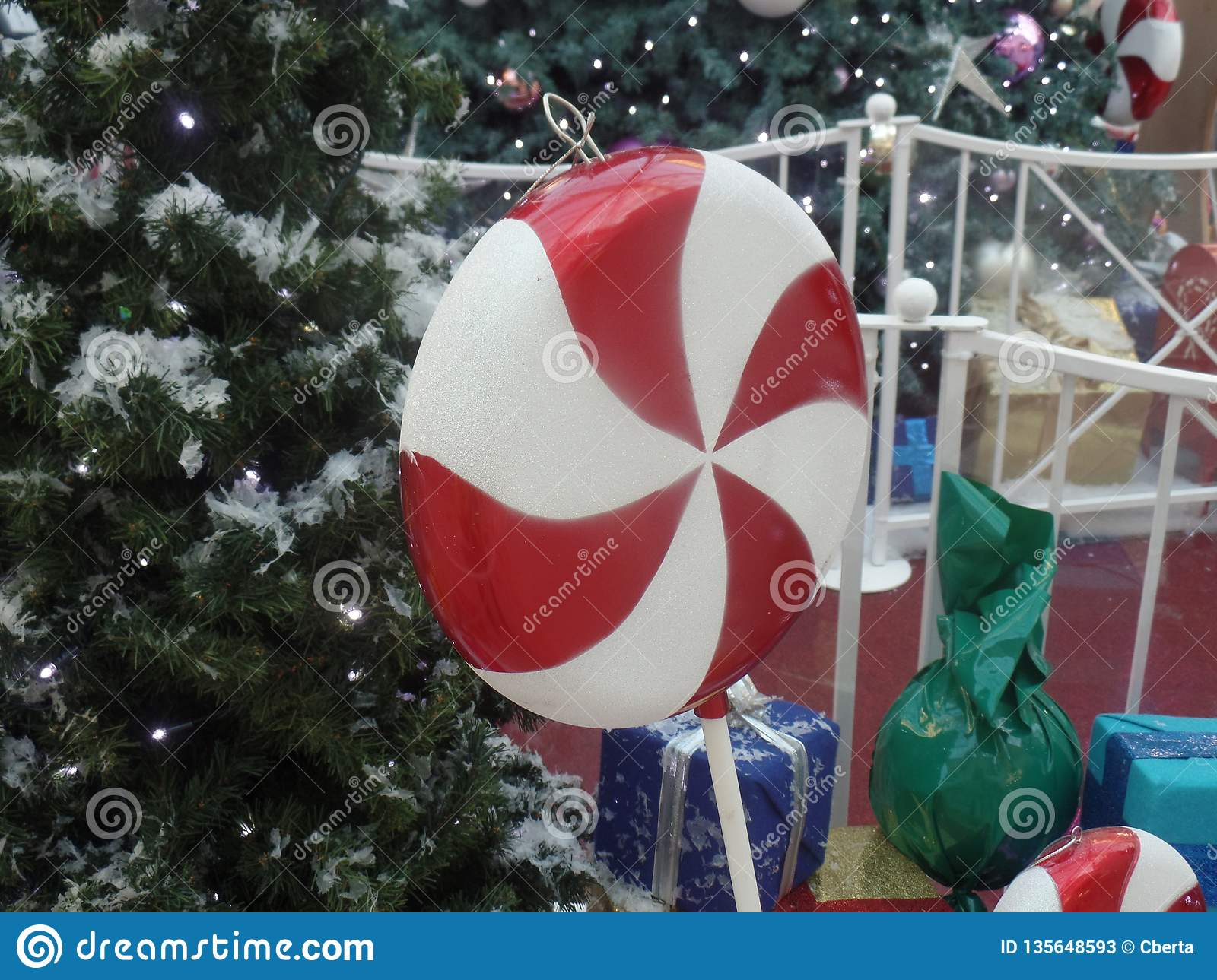 Giant Christmas Candy Cane Lollipop Decoration Stock Image