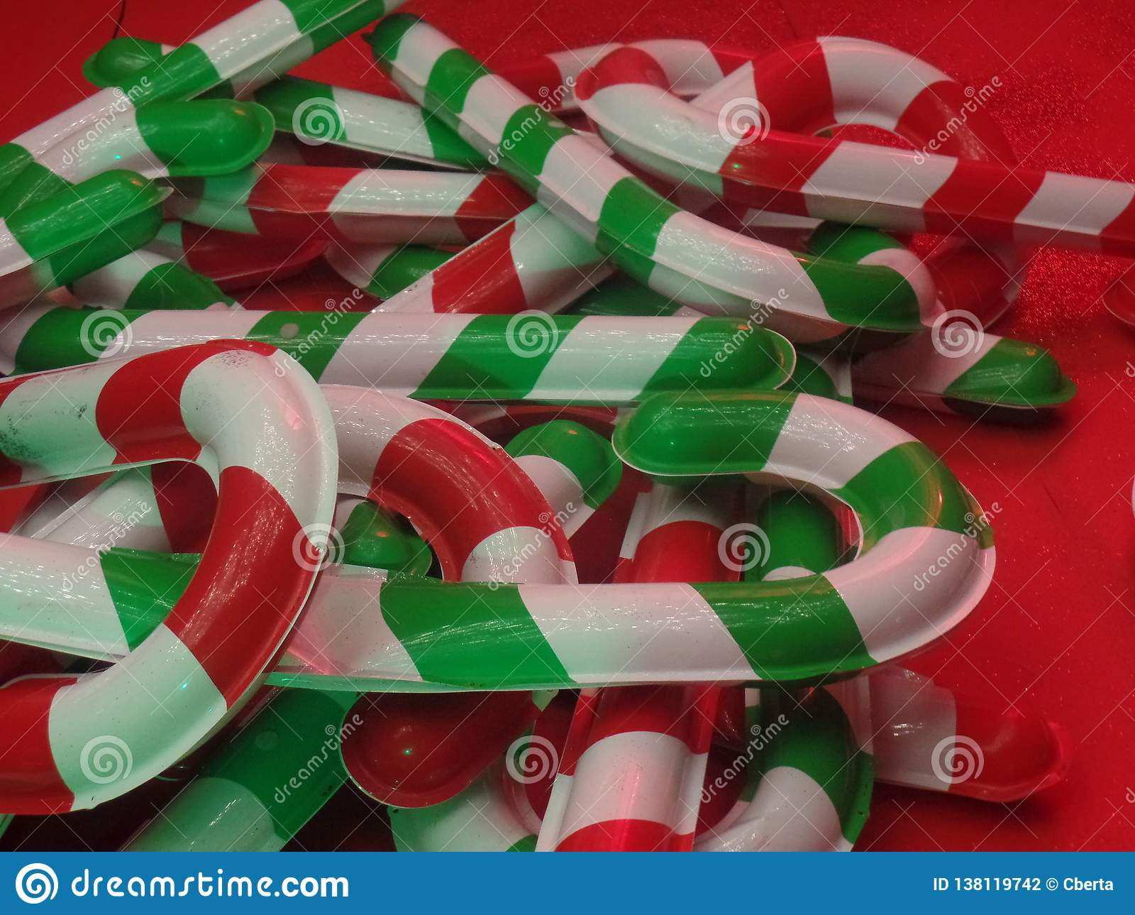 Giant Christmas Candy Cane Lollipop Decorations Stock Photo