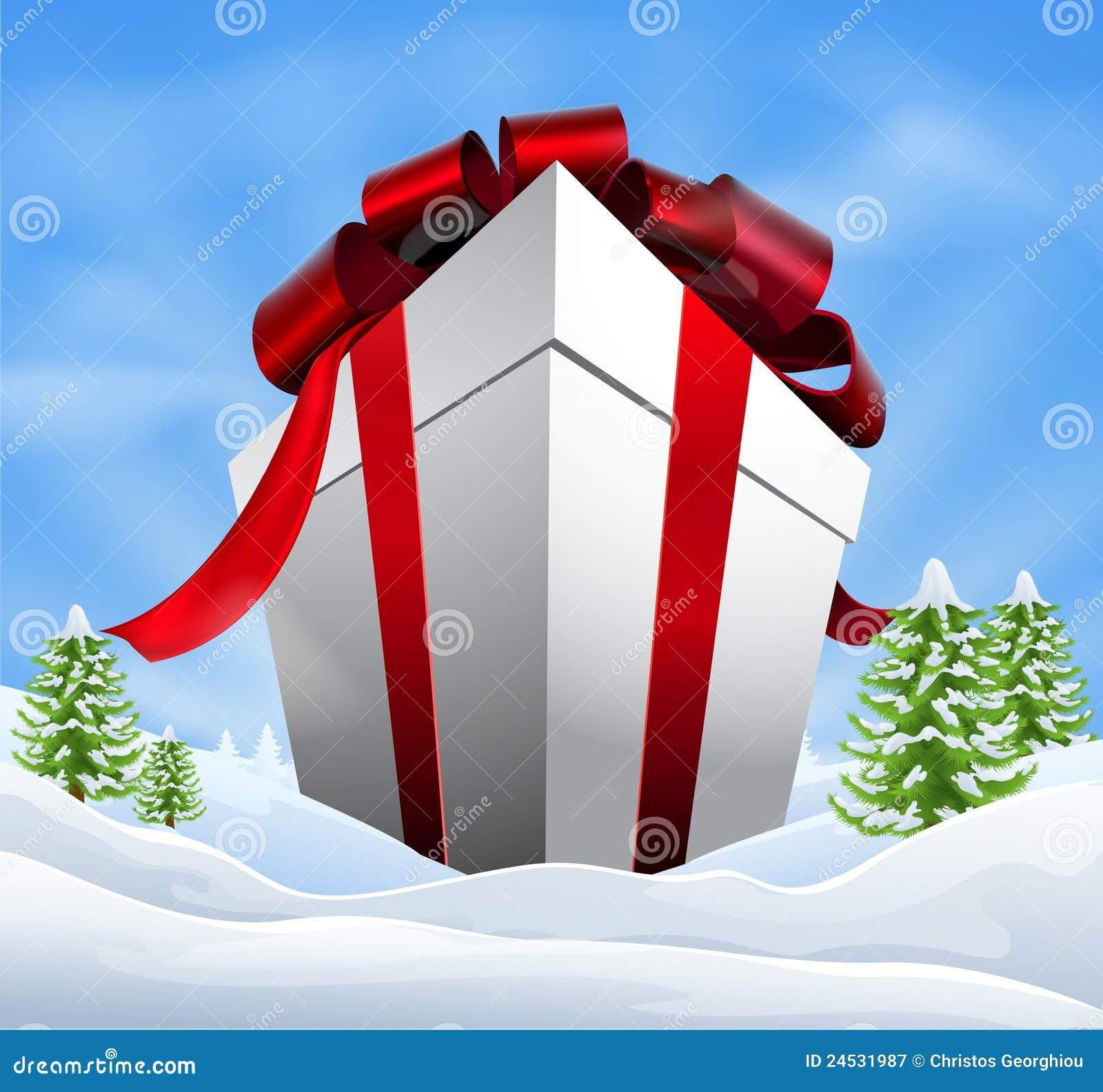 giant christmas gift royalty free stock photography