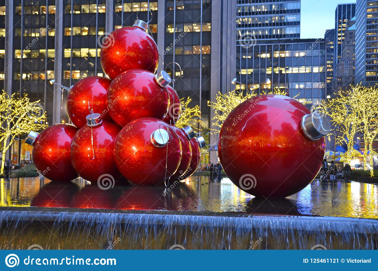Giant Christmas Ornaments In New York City Usa Editorial Photo