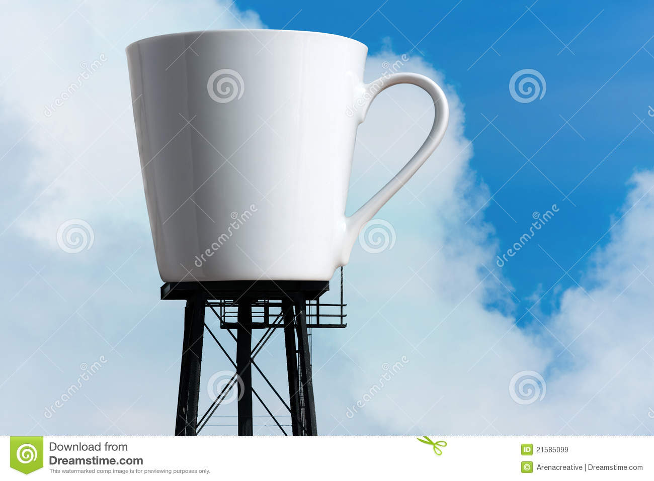 An enormous supply of coffee in the form of a coffee mug atop water ...