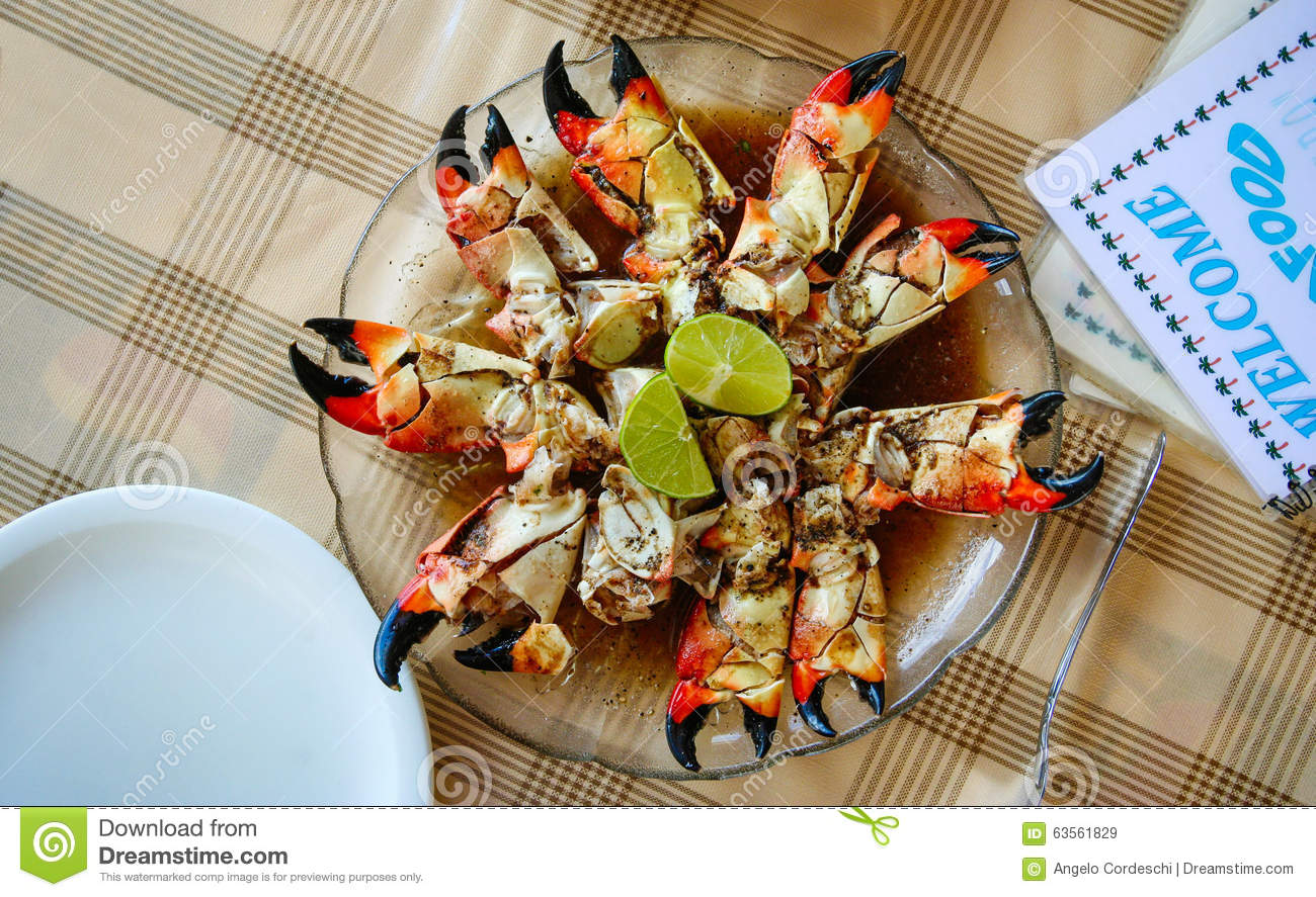 Giant Crab Claws In A Dish. Restaurant Table Stock Photo ...