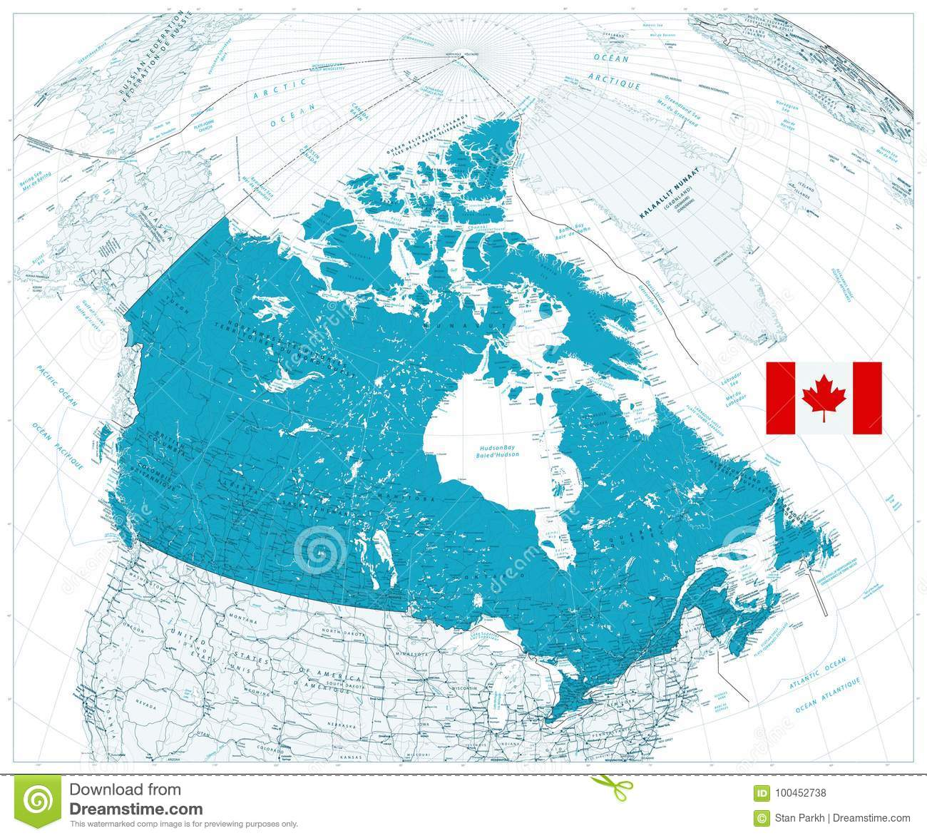 Map Of Canada Download.Giant Detailed Road Map Of Canada With Cities And Towns Stock Vector